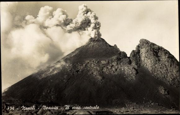 Ak Napoli Neapel Campania, Vesuvio, Il cono centrale