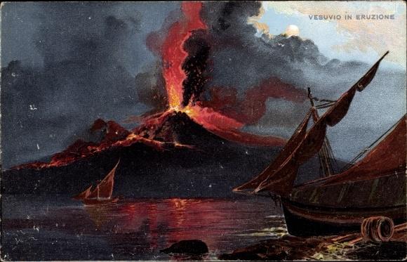 Künstler Ak Napoli Neapel Campania, Vesuvio in eruzione