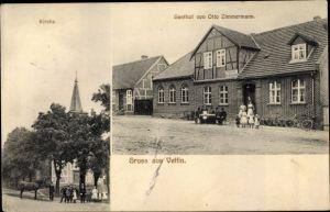 Ak Vettin Groß Pankow in der Prignitz, Kirche, Gasthof Otto Zimmermann