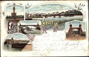 Litho Holtenau Kiel in Schleswig Holstein, Kaiser Wilhelm Kanal, Hochbrücke, Leuchtturm, Schleuse
