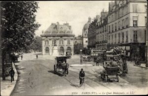 Ak Paris VI., Le Quai Malaquais, Kutschen, Denkmal