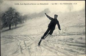 Ak Les Sports d'hiver en Dauphiné, le Ski, un Telemark, Skispringer