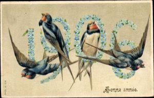 Präge Litho Glückwunsch Neujahr, Jahreszahl 1906, Schwalben, Vergissmeinnicht