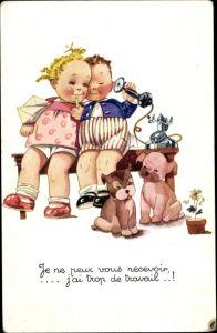 Künstler Ak Junge, Mädchen, Telefon, Hunde