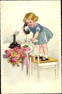 Künstler Ak Mädchen am Telefon, Rosen