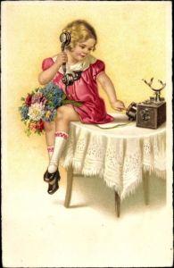 Künstler Ak Mädchen am Telefon, Blumenstrauß