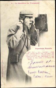 Ak La Question du Transvaal, Importante Nouvelle, Mann am Telefon