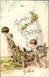 Präge Litho Glückwunsch Ostern, Engel schieben Karren mit Osterei