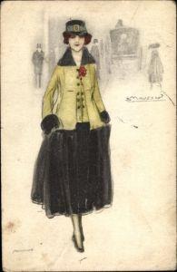 Künstler Ak Mauzan, Frau in modischem Kleid, Hut