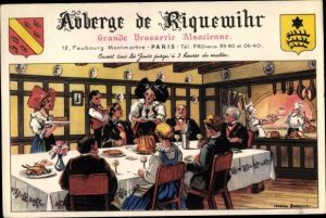 Künstler Ak Paris IX., Auberge de Riquewihr, Grande Brasserie Alsacienne, Faubourg Montmartre