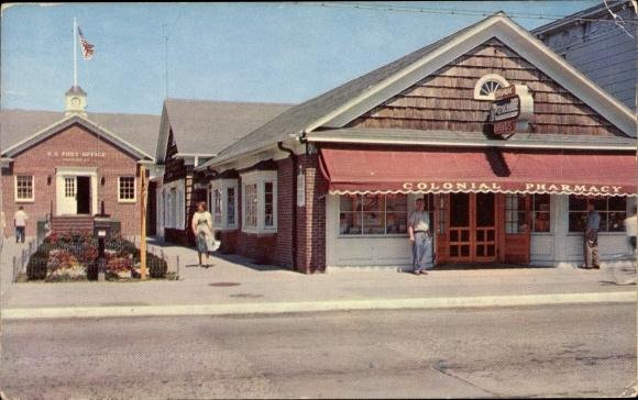 Ak Greenport Long Island New York USA, Post Office Shopping Center