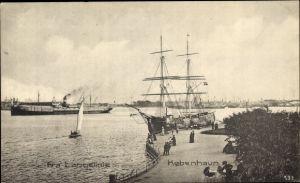 Ak København Kopenhagen Dänemark, Fra Langelinie, Hafenszene, Segelschiff