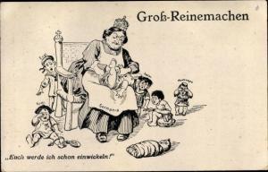 Künstler Ak Groß Reinemachen, Germania als Kindermädchen, Euch werde ich schon einwickeln