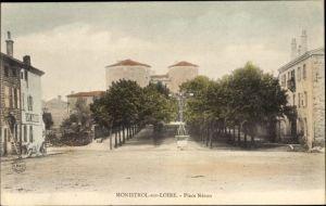 Ak Monistrol sur Loire Haute Loire, Place Neron