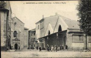 Ak Monistrol sur Loire Haute Loire, La Halle et l'Eglise
