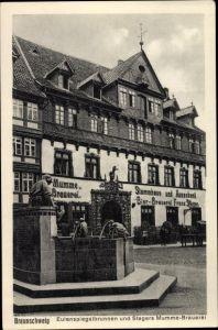 Ak Braunschweig in Niedersachsen, Eulenspiegelbrunnen und Stegers Mumme Brauerei