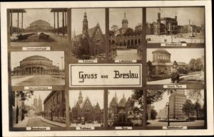 Ak Wrocław Breslau Schlesien, Jahrhunderthalle, Hauptbahnhof, Rathaus, Dom