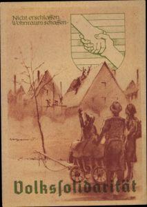 Künstler Ak Vertriebene Familie, Volkssolidarität, Wappen, DDR Propaganda