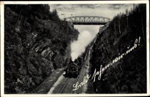 Ak Eisenbahn in voller Fahrt, Brücke