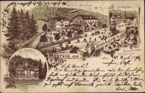 Vorläufer Litho Bärenburg Altenberg im Erzgebirge, Hotel, Schäfermühle, Villa Lehmann