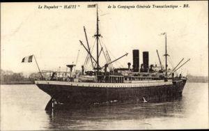 Ak Paquebot Haiti, CGT, Dampfschiff