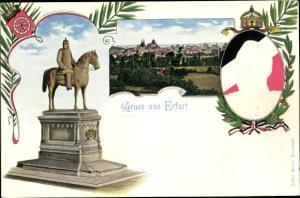 Präge Ak Erfurt in Thüringen, Kaiser Wilhelm I. Reiterdenkmal, Kaiser Wilhelm II.