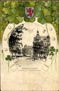 Präge Wappen Künstler Litho Schotte, Düsseldorf, Eingang zur Schadowstraße, Kleeblätter, Hufeisen