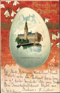Passepartout Litho Hamburg, Rathaus, Fröhliche Ostern, Osterei, Schneeglöckchen