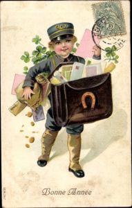 Präge Litho Glückwunsch Neujahr, Postbote, Kleeblätter, Hufeisen, Geldscheine, Münzen