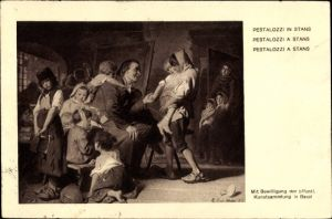 Künstler Ak Pädagoge Johann Heinrich Pestalozzi in Stans, Bundesfeier 1914