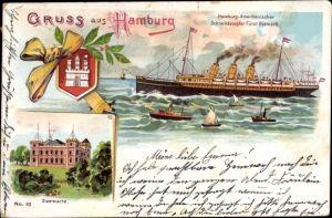 Litho Hamburg St. Pauli, HAPAG Schnelldampfer Fürst Bismarck, Seewarte