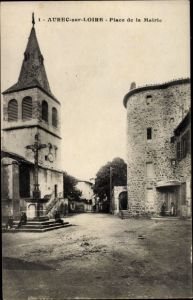 Ak Aurec sur Loire Haute Loire, Place de la Mairie