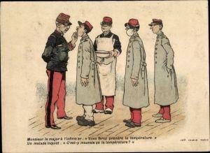 Künstler Ak Französischer Major, kranker Soldat, Reklame Amidon Hoffmann, Le Chat