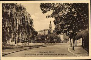 Ak Kleve am Niederrhein, Schwanenburg von der Emmericher Straße gesehen