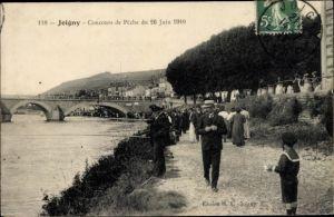 Ak Joigny Yonne, Concours de Peche du 26 Juin 1910, Angler