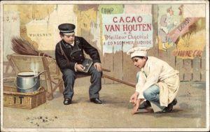 Künstler Ak Cacao Van Houten, Koch und Postbote beim Murmelspiel, Kinder