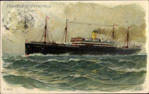 Litho HAPAG Dampfer Patricia der Hamburg Amerika Linie