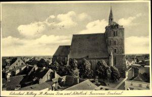 Ak Kołobrzeg Kolberg Pommern, St. Marien Dom und Nettelbeck Gneisenau Denkmal