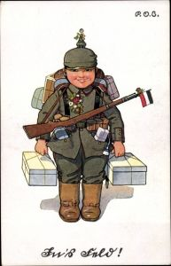 Künstler Ak Engelhard, P.O.E., In's Feld, Soldat mit Gepäck