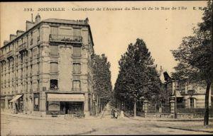 Ak Joinville le Pont Val de Marne, Carrefour de l'Avenue du Bac et de la Rue de l'Ile