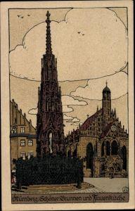 Steindruck Ak Nürnberg in Mittelfranken Bayern, Schöner Brunnen und Frauenkirche