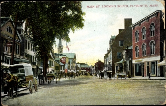 Ak Plymouth Massachusetts USA, Main Street looking south