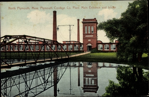 Ak North Plymouth Massachusetts USA, Plymouth Cordage Co. Plant, Main Entrance and bridge