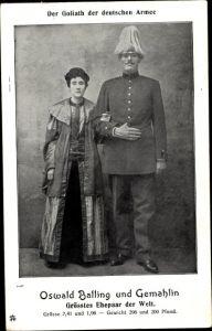 Ak Der Goliath der deutschen Armee, Oswald Balling und Gemahlin, Größtes Ehepaar der Welt