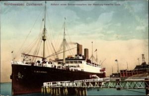 Ak Cuxhaven Niedersachsen, Abfahrt des Schnelldampfers Cininnati der Hamburg Amerika Linie, HAPAG