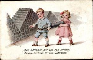 Künstler Ak Frank, Elly, Kinder tragen Munition, Hilfsdienst