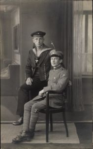 Foto Ak Deutscher Seemann und Soldat in Uniform, SMS Rheinland, Regiment 5