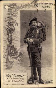 Ak Chasseurs Alpin, Alpenjäger in Uniform, Standportrait
