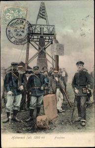 Ak Hohneck Vosges, Frontiere, soldats francais, soldat allemand