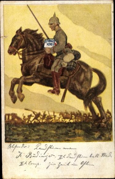 Ak Deutscher Soldat zu Pferd, Leibniz Kekse, Werbung, Schlacht